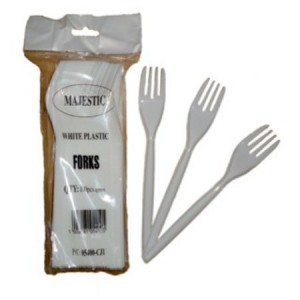 white plastic forks